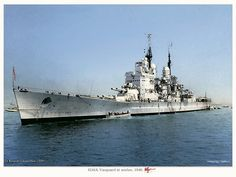 Battleship HMS Vanguard at anchor, 1946 Naval History, Military History, Hms Vanguard, Portsmouth England, Gun Turret, Uss Constitution, Capital Ship, Hms Victory, Colouring Pics