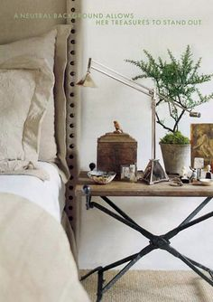 Richard Hallberg and Barbara Wisely, Interior Design - like the slight cupping effect of headboard and room enough for all essentials on the bedside table.