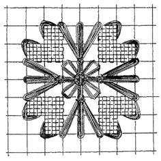 Необычная вышивка нитками по филейной сетке