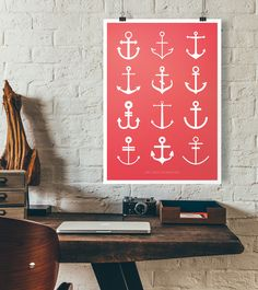 Perfect Maritime Wanddeko mit Ankern minimalistic illustration home is where the anchor drops made
