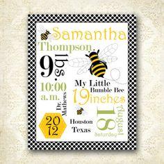 Printable Personalized Bumble Bee Nursery Word by AllbyWanda, $14.95