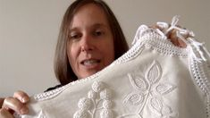 """In this episode of White Threads FlossTube, Yvette Stanton shows the embroidered clothing item she is wearing, and gives a mini lesson on Mountmellick embroidery, carefully explaining which stitches are used on the Mountmellick Blackberry Table Runner, from """"Mountmellick Embroidery: Inspired by Nature"""" by Yvette Stanton and Prue Scott. Embroidered Clothes, Clothing Items, Floral Embroidery, Table Runners, Blackberry, Stitches, Inspired, Mini, Nature"""