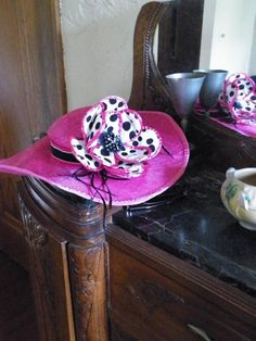 CUSTOM ORDER - Hot Pink Kentucky Derby Hat with Handmade Polka Dotted Flower by Baubles & Whatnots