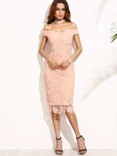 Shop Pink Embroidered Lace Overlay Off The Shoulder Dress online. SheIn offers Pink Embroidered Lace Overlay Off The Shoulder Dress & more to fit your fashionable needs.
