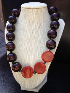 SafariSuper chunky woodbeaded necklace with red by terrygoddard, $28.00