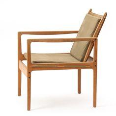 Ole Wanscher; Oak and Canvas Safari Chair, 1950s.