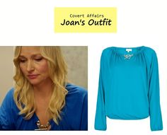"On the blog: Joan's (Kari Matchett) blue blouson blouse with chain toggle | Covert Affairs - ""Vamos"" (Ep. 401) #tvfashion #outfits #fashion #premiere"