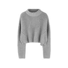 High Neck Chunky Knit Cropped Sweater (155 BRL) ❤ liked on Polyvore featuring tops, sweaters, cropped sweater, loose sweaters, loose fit crop top, long sleeve sweater and high neck long sleeve top