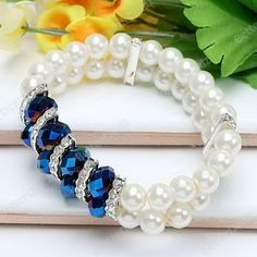 Blue Faceted Crystal Round Faux Pearl Beads Bracelet