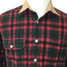 4bcdd0916be Tommy Hilfiger Corduroy Shirt crest Plaid Button Front Mens Sz M red green  blue