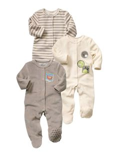 HAPPY PRICE 3er-Pack Baby Strampler TAUPE+WEISS+GESTREIFT
