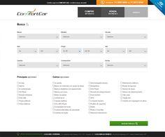 Página de busca com filtragem e formulários para o novo site da Comfortcar.