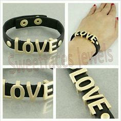Love Black Faux Leather Band Bracelet. Black Faux Leather with Gold Tone Letters bracelet.  NO PayPal NO Trades NO Low-Balling...     &  free House....   ALL Offers are Welcome via Offer Feature... ✅ Jewelry Bracelets