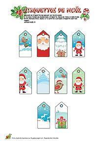 Découpage étiquettes de Noël pour enfants sur HugoLescargot.com