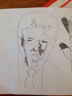 Dit een begin van een ontwerp met zwarte vlekken en dan wil ik het portret met kleur gaan maken