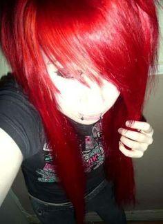 Girl with Long Scene Emo Red Hair redhead Short Bob Hairstyles, Hairstyles With Bangs, Girl Hairstyles, Haircuts, Bright Red Hair, Colorful Hair, Emo Scene Hair, Alternative Hair, Emo Girls