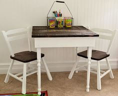 Love the stain/paint combo - try on E's rocker.
