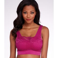 Ahh Bra by Rhonda Shear Seamless Lace Bralette featuring polyvore, women's fashion, clothing, intimates, bras, bra, bralette, soft cup, women, rhonda shear bras, rhonda shear, lacy bras, seamless underwire bra and lace underwire bra