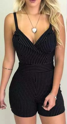 Buy Women Striped V Neck Casual Sleeveless Spaghetti Strap Rompers at Wish - Shopping Made Fun Trend Fashion, Look Fashion, Fashion Outfits, Womens Fashion, Fashion Hacks, Ladies Fashion, Fashion Design, Mode Rockabilly, Striped Playsuit