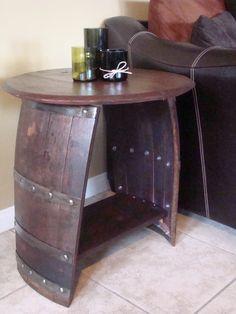Wine Barrel End Table. $175.00, via Etsy.
