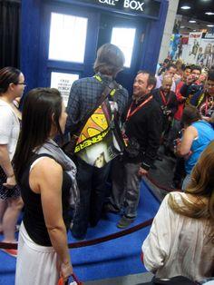 Jared Padalecki, Mark Sheppard and the TARDIS. Jared couldn't fit. JARED COULDN'T FIT IN THE TARDIS