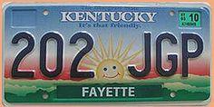 """US Kennzeichen Kentucky - It's that friendly - original . Originales US-Nummernschild aus dem Staat Kentucky - mit dem Slogan """"It's that friendly."""" und einer"""