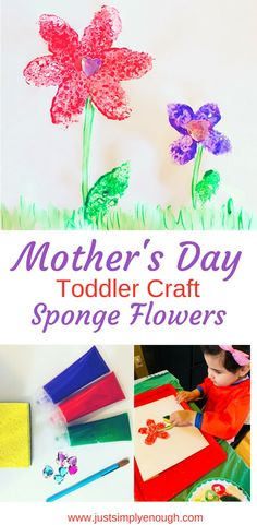 Do you need an easy and fun Mother's Day Toddler Craft? Check out this super easy and cute sponge flower craft for toddlers!