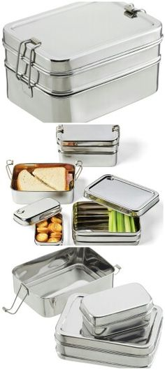 Stainless Steel 3-in-1 ECOlunchbox Designed by a mom, the Stainless Steel 3-in-1 ECOlunchbox is a safe and earth-friendly alternative to plastic sandwich bags. The bottom layer can hold a sliced sandwich, the middle layer holds fruit, pasta or salad, and the small inner container can hold a half-cup of snacks. All three fit together neatly for easy transport, and the bento box-style keeps everything separated (often a must for the littlest food critics).  Made from durable stainless steel…