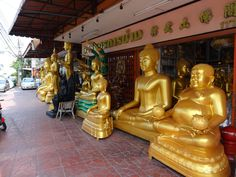 One of the many shops in Bangkok that sells these large Buddha images. Visit Thailand, City Of Angels, Bangkok, Meditation, Asia, Shops, Culture, Shopping, Thailand