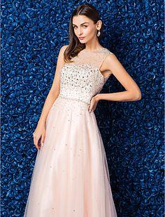 A-line Jewel Floor-length Tulle Evening Dress - EUR € 136.36
