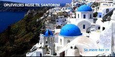 En skøn oplevelsesrejser til Santorini med ophold på hotel med morgenmad. Fællesspisning med græsk levende musik, byvandring, Sunset Cruise og snorkeltur. Go' ferie