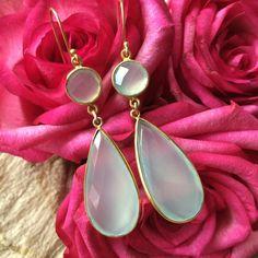 Dangle earrings with light green Chalcedony by Rockchicsieraden