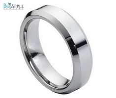 Tungsten Carbide Ring High Polish Beveled Edge 6mm His Hers Wedding Engagement Anniversary Band Comfort Fit Jewelry Ring