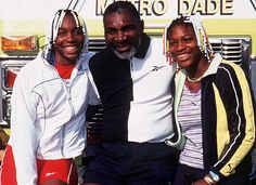 Pictured in Richard Williams' ability as a coach is credited for turning daughters Venus (left) and Serena Williams (right) into world-class tennis champions Serena Williams Dad, Serena Williams Tennis, Venus And Serena Williams, Richard Williams, Nicole Murphy, My Sisters Keeper, American Athletes, My Black Is Beautiful, Beautiful People