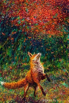 fox Oil Finger Painting by Iris Scott