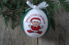 Baby first christmas ornament Hand made embroidered Christmas tree ball