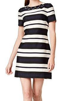 Vince Camuto Womens Short Sleeve Stripped Shift Dress with Beaded Neckline NavyIvory 2 -- You can get additional details at the image link. (This is an affiliate link and I receive a commission for the sales)