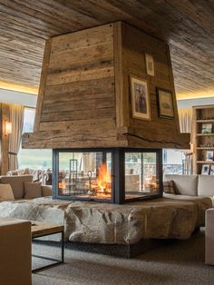 8 new ski hotels- 8 nouveaux hôtels au ski Winter 8 new hotels in ski resorts – rougemont gstaad hotels - Modern Cabin Interior, Chalet Interior, Home Interior Design, Home Fireplace, Fireplace Design, Fireplaces, Hotel Concept, Cabin Interiors, Dream Rooms