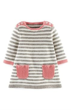 Baby Knitting Patterns Dress Mini Boden 'Stripy' Knit Dress (Baby Girls) available at Baby Knitting Patterns, Knitting For Kids, Baby Patterns, Free Knitting, Crochet Patterns, Crochet Baby, Knit Crochet, Pull Bebe, Knit Baby Dress