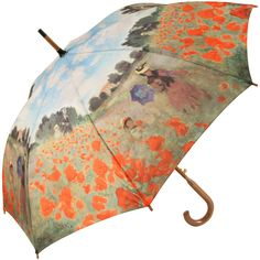 Galleria Art Print Walking Length Umbrella - Field of Poppies by Monet - Brolliesgalore