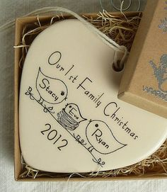 Our 1st Family Christmas Porcelain Heart by aphroditescanvas, $28.00