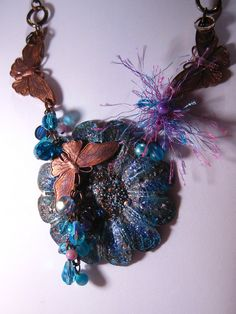 Collage Necklace with Butterflies &  Vintage by VintiqueJools, $58.00