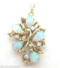 0.06CT Fine Vintage Pear Shape Opal & Round Diamond Pendant 14K Yellow Gold