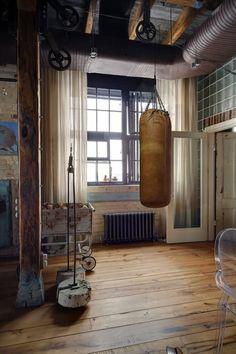 Bachelor Pad Loft Tour - Leather boxing bag