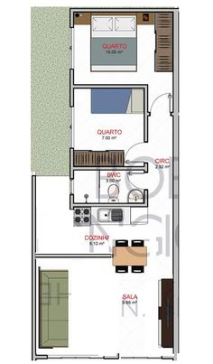 Leave out the wall in the living room👍 Narrow House Designs, Narrow House Plans, Small House Design, Modern House Plans, House Floor Plans, 1 Bedroom House, Apartment Floor Plans, Sims House, Facade House