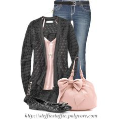 """Pink & Charcoal Gray"" by steffiestaffie on Polyvore"