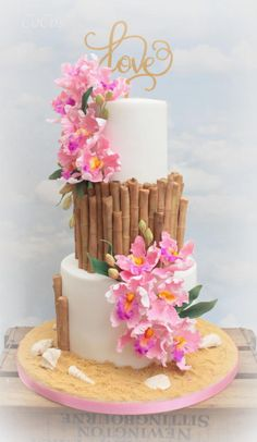Tropical hawaiin engagement cake  by Lynette Brandl - http://cakesdecor.com/cakes/283371-tropical-hawaiin-engagement-cake