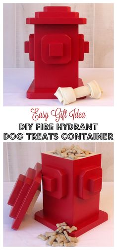 Looking for gift ideas for a dog lover? Check out these easy to follow plans for a DIY Fire Hydrant Dog Treats Container made entirely with scrap wood! An easy and economical gift!