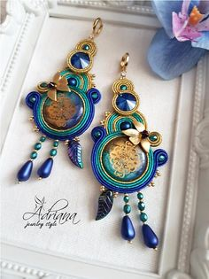 High Quality Gold Soutache Earrings With Swarovski Crystals And Hand Made Cabochons.