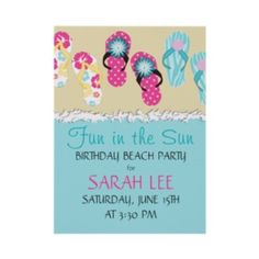 Cute Personalized Flip Flop Birthday Invitations